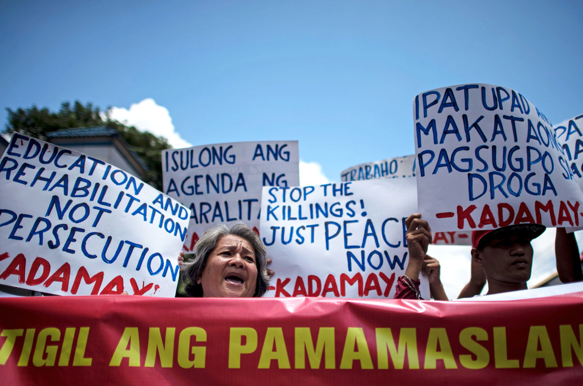 Activists protest Rodrigo Duterte, the new President of the Philippines, who promised to cleanse the country of drugs by extrajudicial means and has been following through with a vengeance.