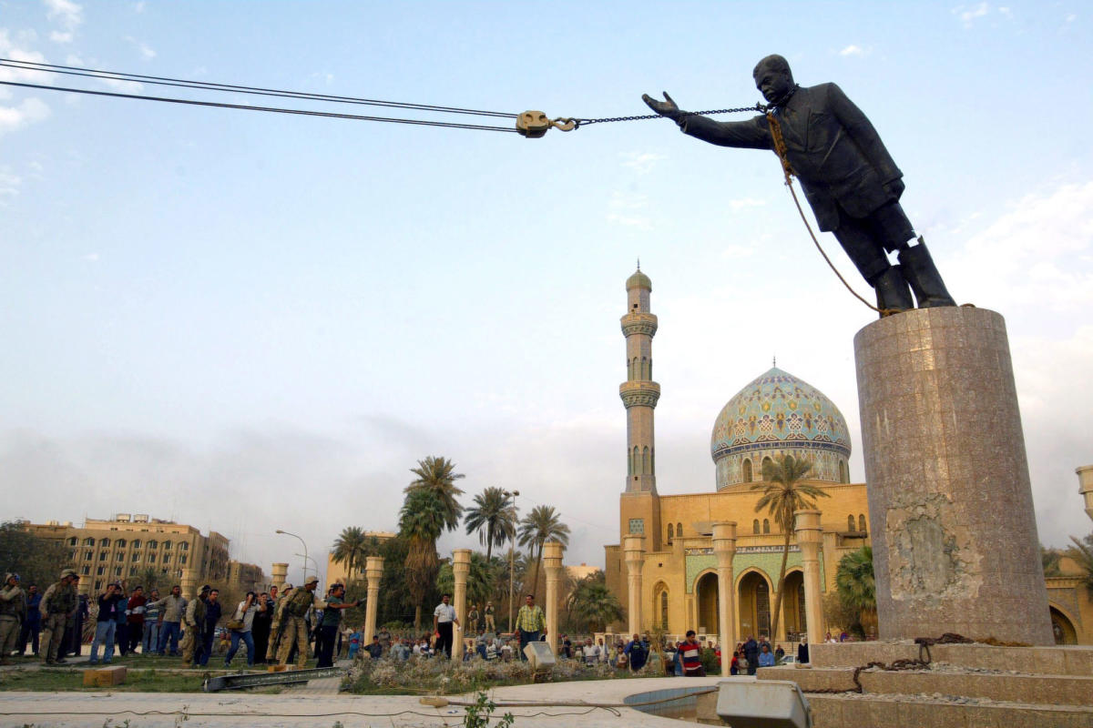 Image result for SADDAM HUSSEIN STATUE