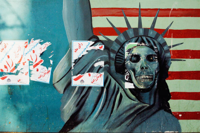 Anti-American murals at the former U.S. Embassy in Tehran, where the Iranian government held dozens of American diplomats hostage.