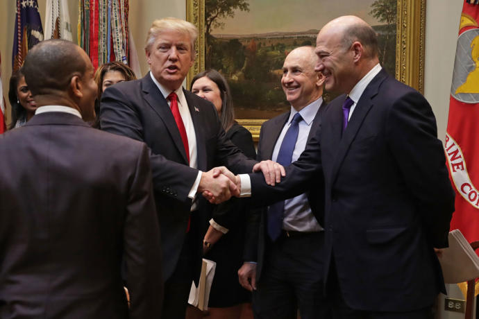Gary Cohn (far right) has suggested that the Trump Administration will attempt to significantly roll back post-2008 regulatory reform on Wall Street.