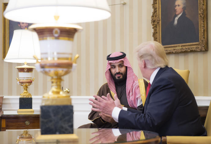 Mohammad bin Salman, of Saudi Arabia, met with Donald Trump in the White House, in March. Saudi Arabia is scheduled to be Trump's first stop abroad as President.