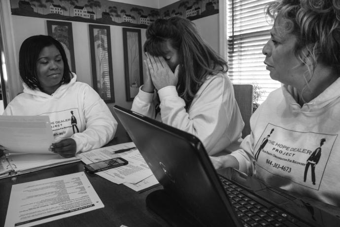 Tara Mayson, Tina Stride, and Lisa Melcher run the Hope Dealer Project, which helps addicts find a spot in rehab.