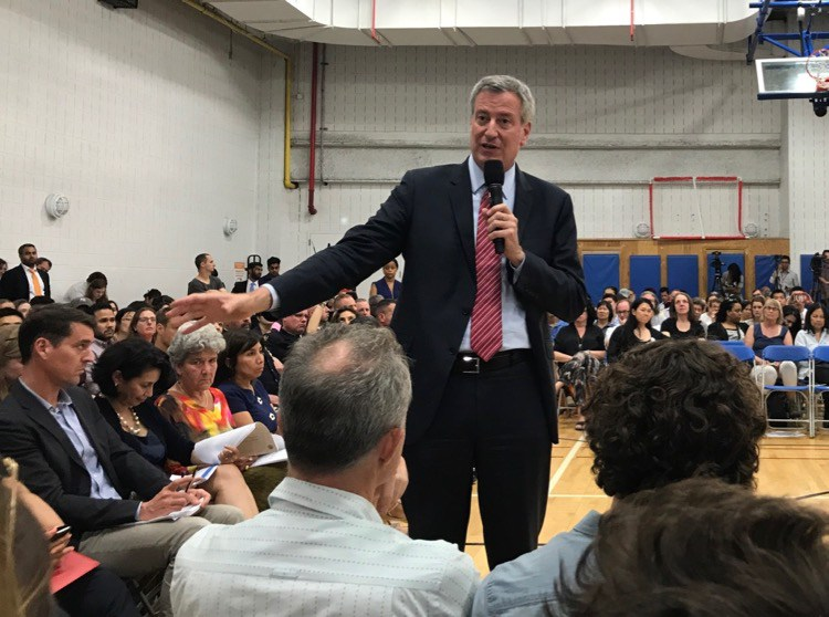 The mayor attended a town hall on the Lower East Side in May of last year.