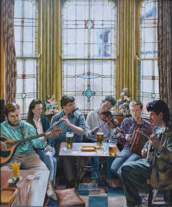 """Long Acre"" by Catharine Kingcome.  Ivan Milititch, Bernadette Davis, Kevin Crawford, Mick Conneely, Brendan Boyle and Joe Molloy in the Big Bull's Head, Digbeth, Birmingham in 1998"