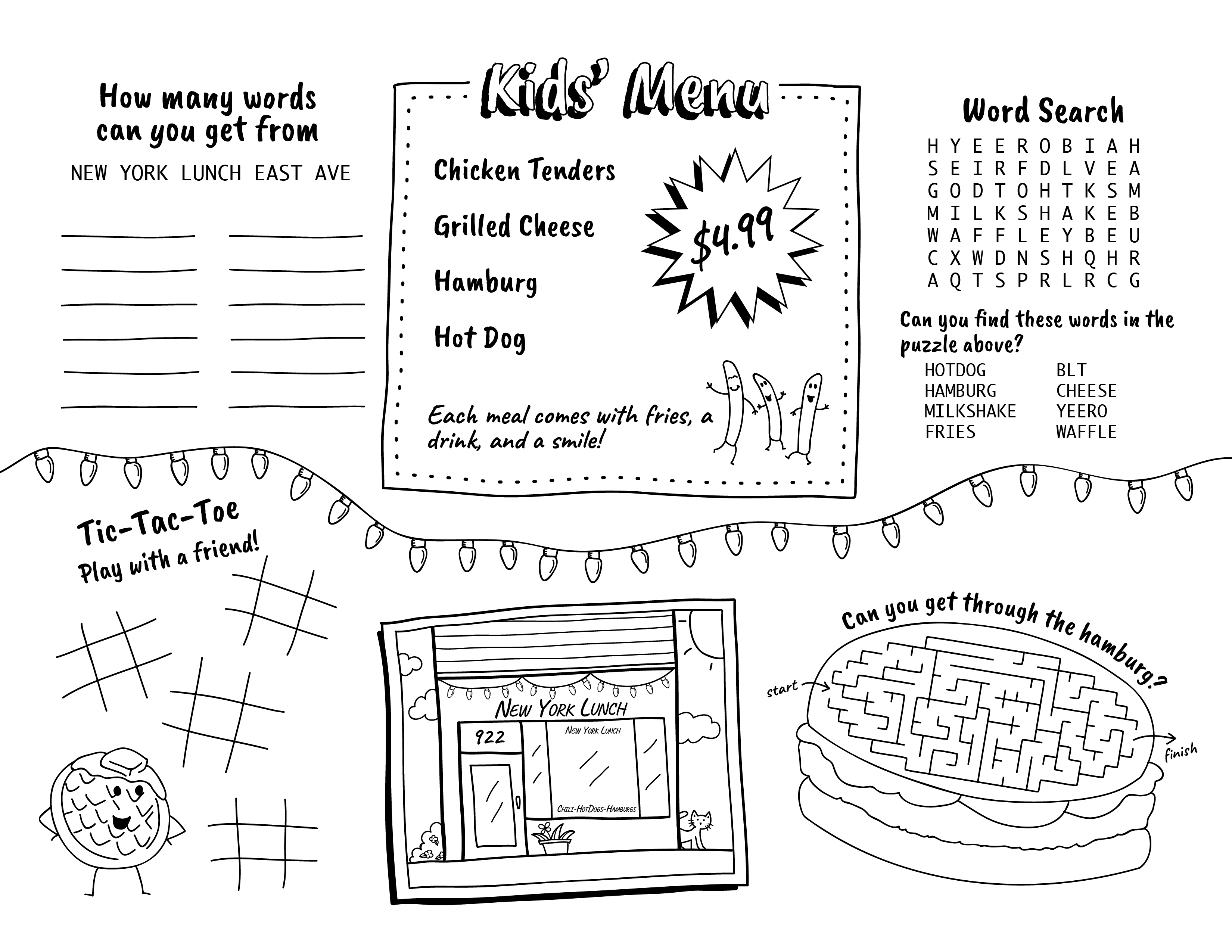 Kids Menu Activities Template Sketch Coloring Page
