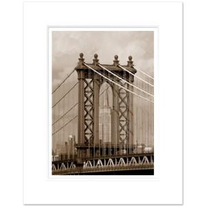 Empire State Building and Manhattan Bridge Art Print ESBS006 16x20 Inch