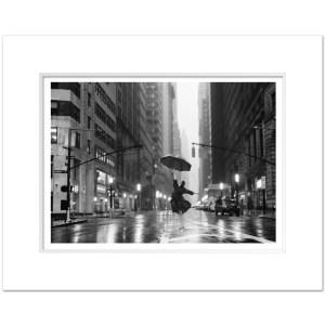 DNB012-Dancing-in-the-rain-Downtown-Manhattan-Broadway-Morris-Street-NYC-Art-Print-BW-MW1620