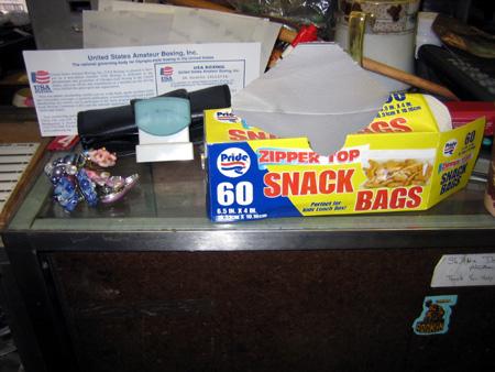 Box of baggies and earrings