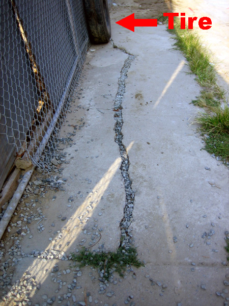 Crack with tire