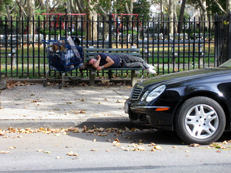 Homeless Man and Mercedes at McGolrick Park