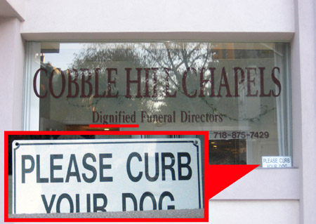 Cobble Hill Caca Sign