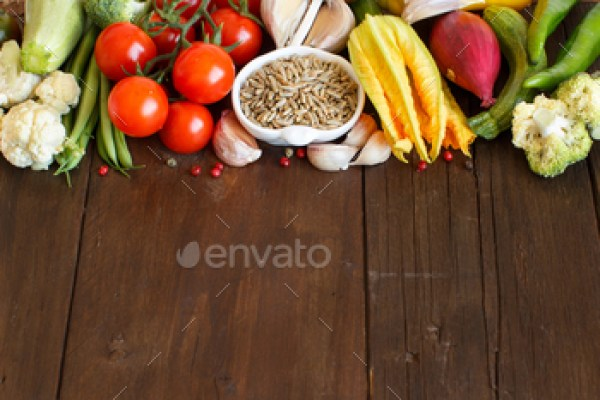 Raw Rye Grain and vegetables