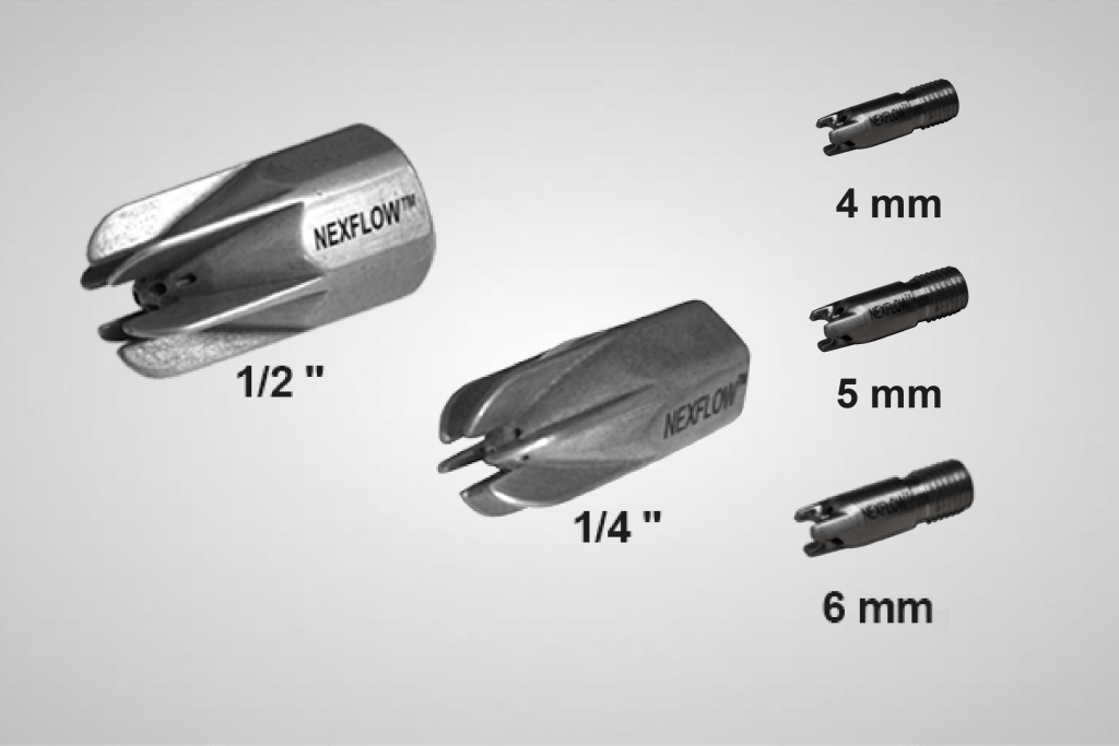 An image showing Air Mag® Air Nozzles in 5 different sizes, from left to right 0.5 inches, 0.25 inches, 4 millimetres, 5 millimetres, and 6 millimetres.