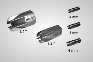 An image showing Air Mag™ Air Nozzles in 5 different sizes, from left to right 0.5 inches, 0.25 inches, 4 millimetres, 5 millimetres, and 6 millimetres.