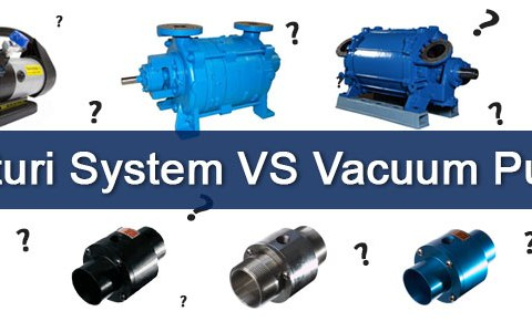 """A graphic with different vacuum pumps with question marks around them. There is a text banner on the image which reads """"Venturi System VS Vacuum Pumps"""""""