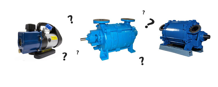 Three various vacuum pumps shown side by side with question marks surrounding them