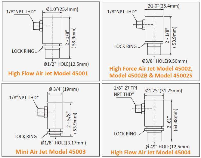 An image showing dimension Model 47001, 47002, 47002B, 47002S, 47003, 47004 of the air jets.