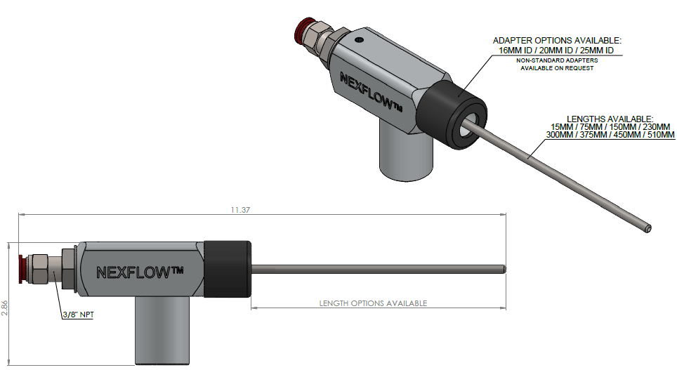 An image showing Dimensions Blind Hole Cleaning System for Automated Systems dimensions.