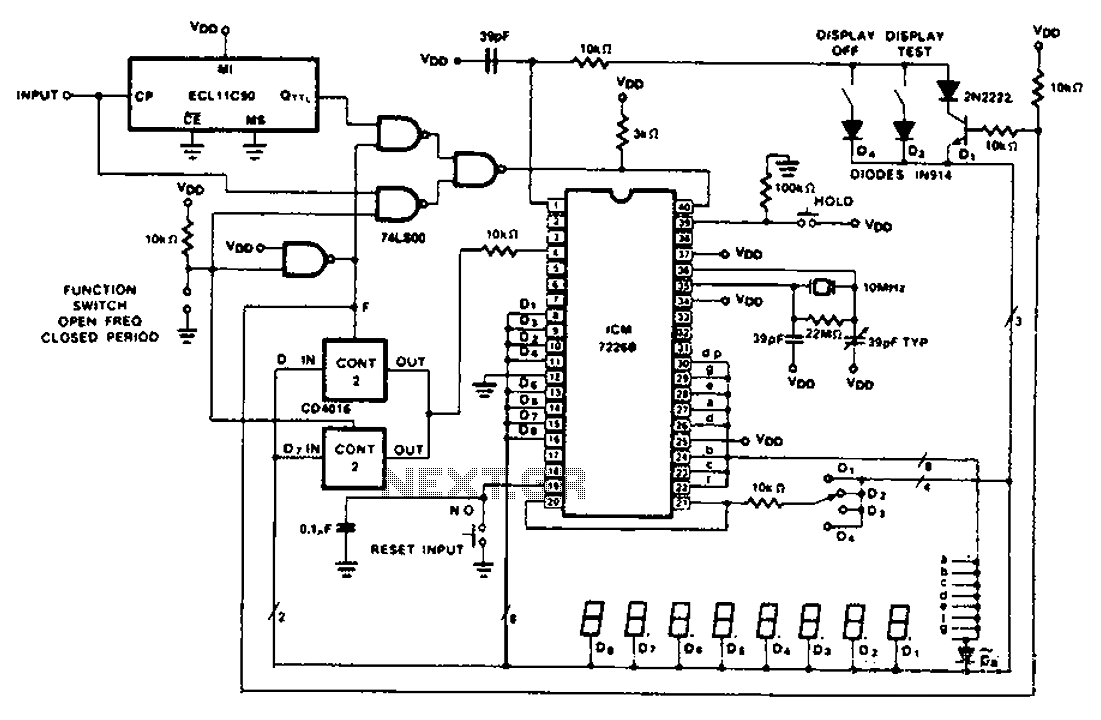 hight resolution of cycle 100 mhz frequency counter circuit diagram