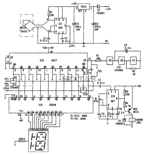 small resolution of ten road temperature itinerant detecting circuit 555 cd4069 ch208