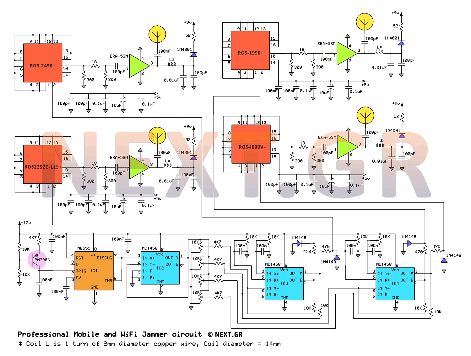 hight resolution of professional mobile 1g 2g 3g 4g wifi jammer circuit schematic