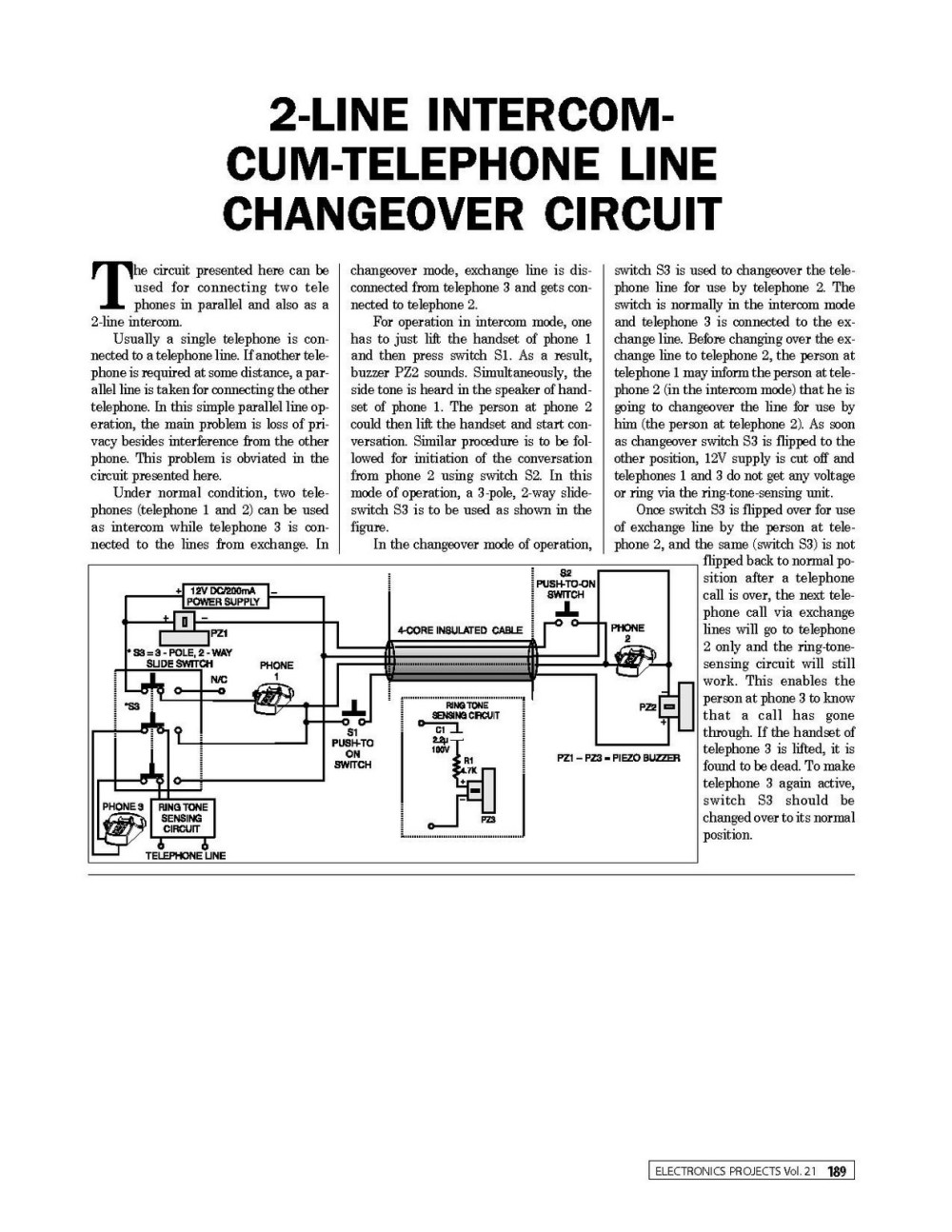 medium resolution of 2 line intercom cum telephone line changeover circuit