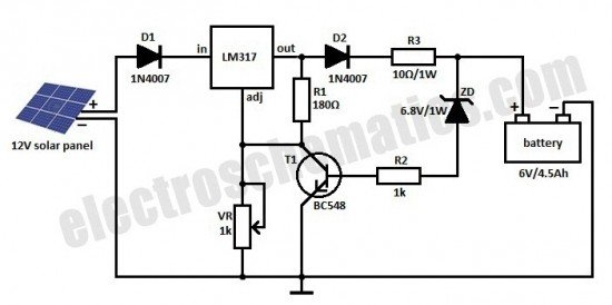 notes the circuit can be powered from a 6v battery or a 6v power