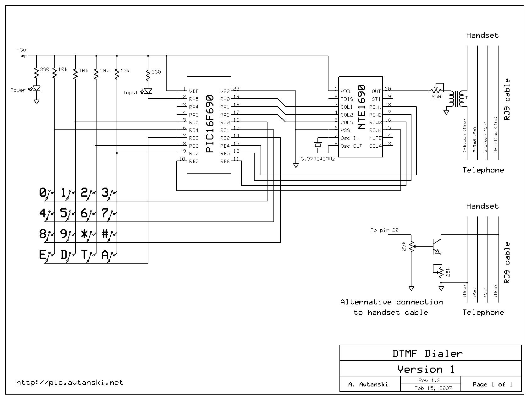 dtmf circuit : Telephone Circuits :: Next.gr