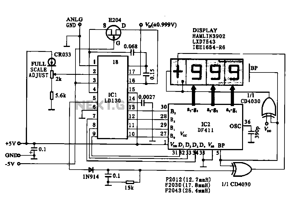 Display driver circuit digital voltmeter under Voltmeter
