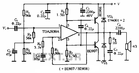 > other circuits > TDA2030A application circuit single