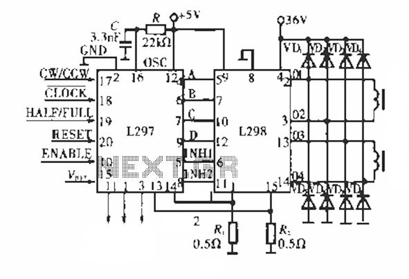 L298 Bipolar Stepper Motor Driver Circuit