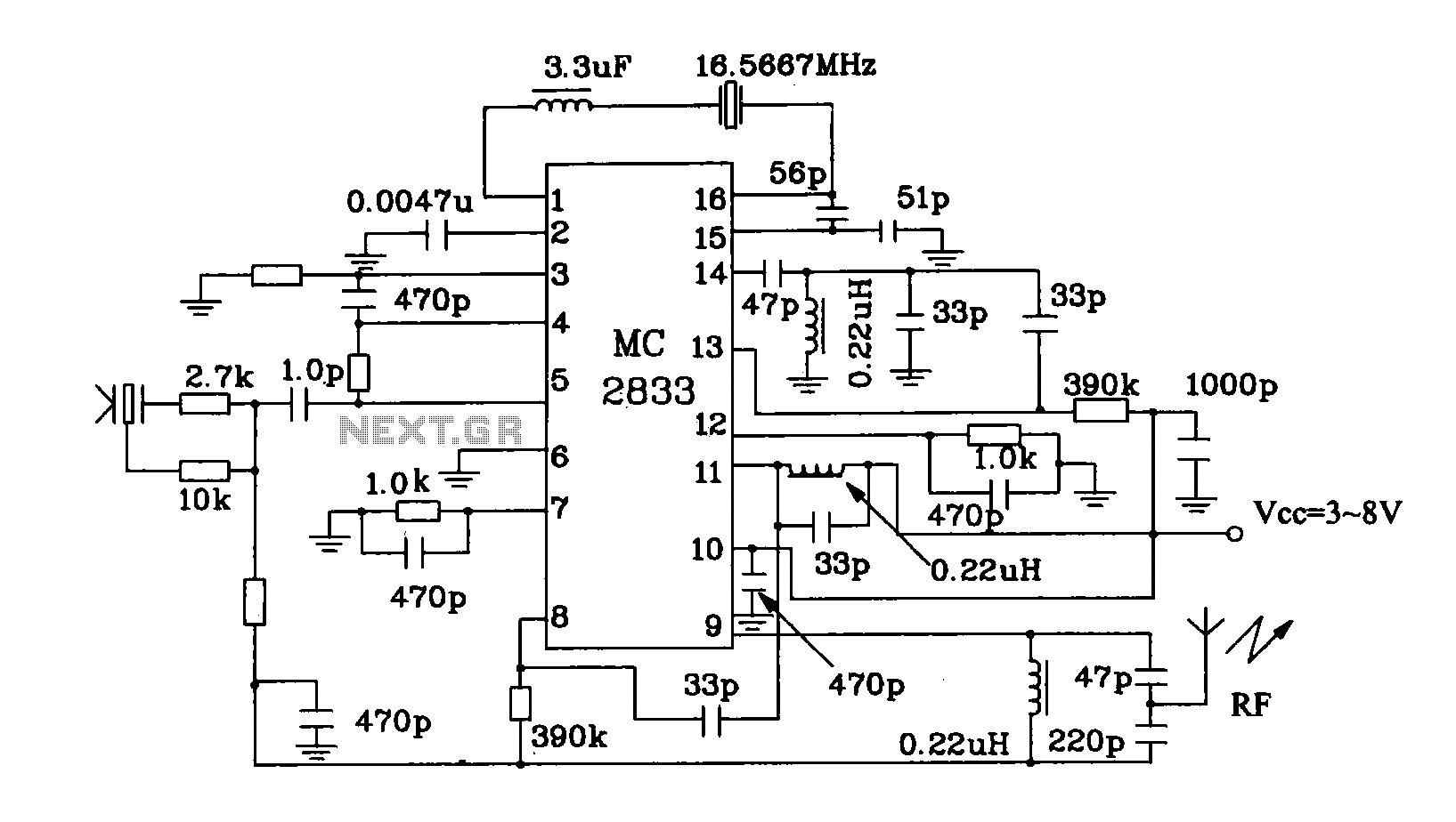 hight resolution of mc2833 radio transmitter typical application circuit schematic