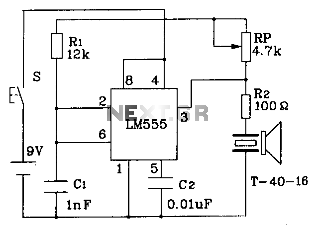 555 constitute an ultrasonic transmitter circuit diagram