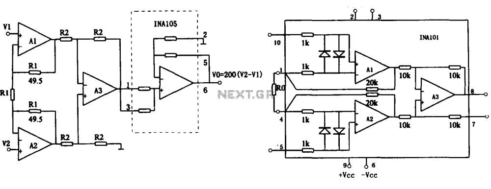 medium resolution of extended common mode range of the instrumentation amplifier ina101 circuit