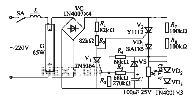 Fluorescent lamp electronic ballast circuit under