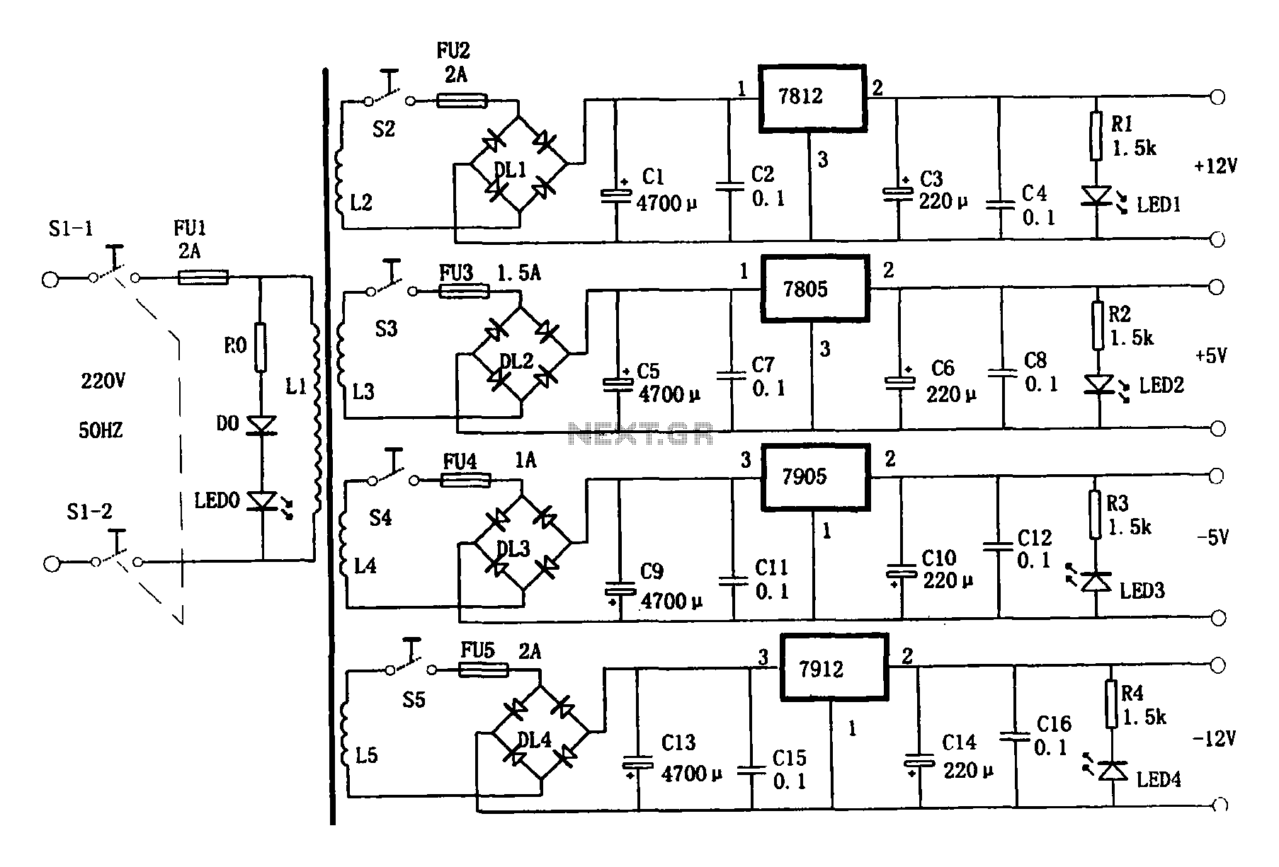 Multi-output power supply circuit under AC-DC & DC-DC