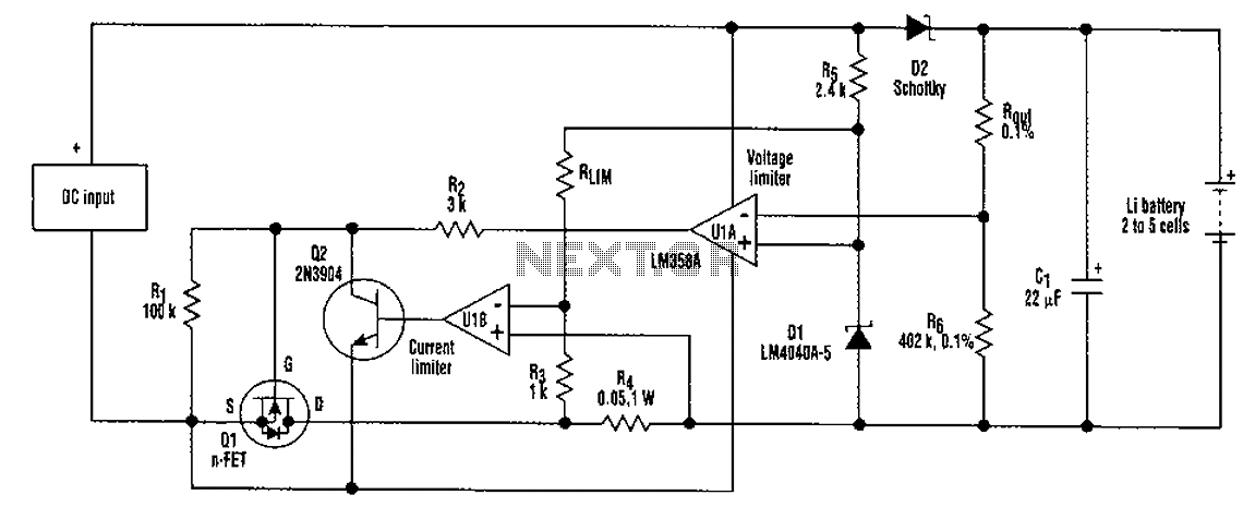 2-5-cell lithium battery charger circuit under Battery