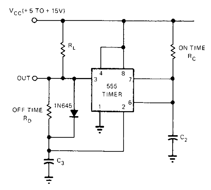 555 Timer astable oscillator circuit under Astable