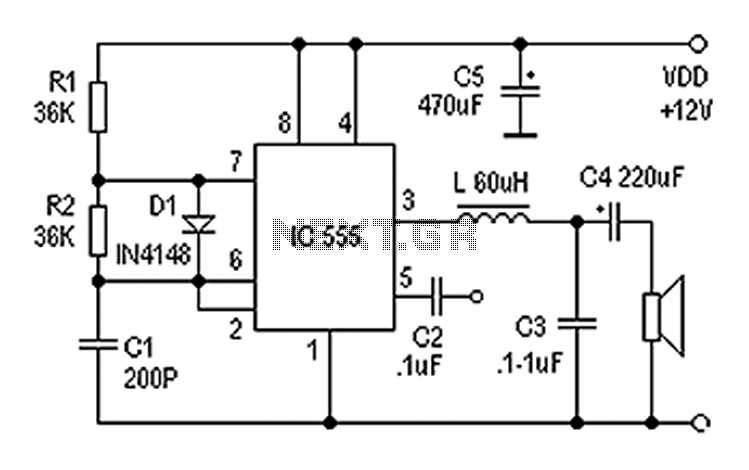 Class D Amplifier Circuit Using Ic 555 Electronic Circuit