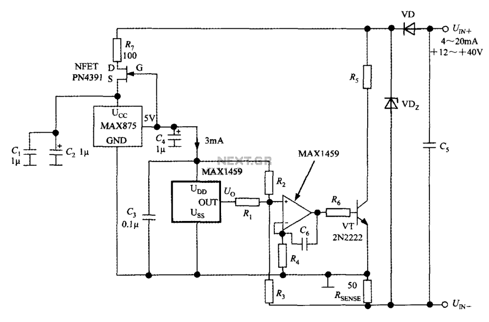 medium resolution of a circuit diagram of the digital pressure signal conditioner max1459 a circuit diagram of the digital