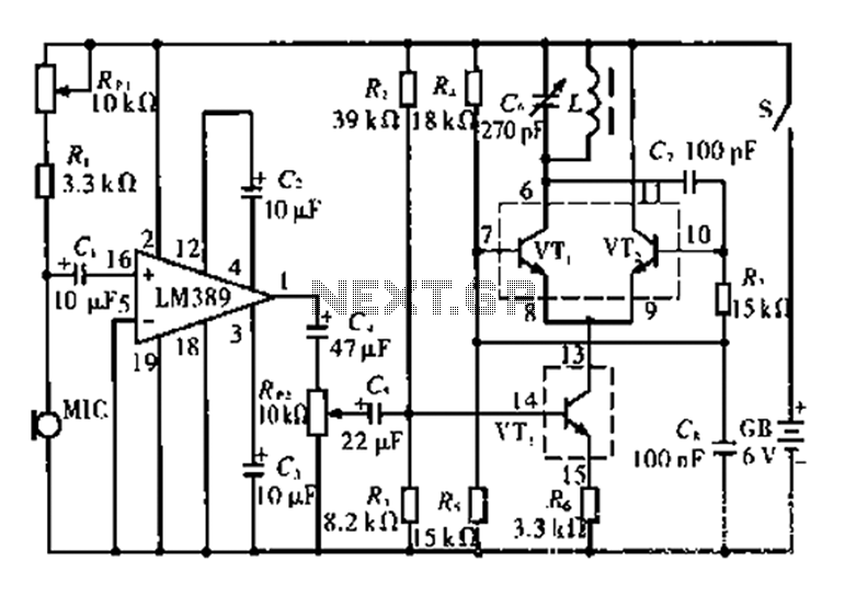 AM-fidelity wireless microphone circuit under Microphone