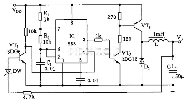Inductive switching power supply circuit diagram
