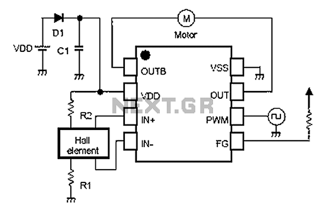 the schematic diagram of the dc motor driver circuit is shown below