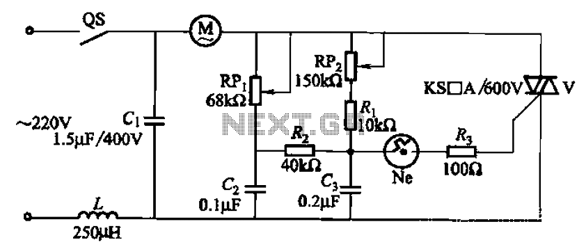 One variable speed single-phase motor circuit thyristor