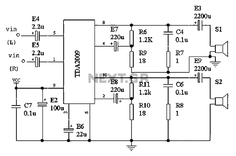 TDA2009 single power amplifier circuit diagram under Audio
