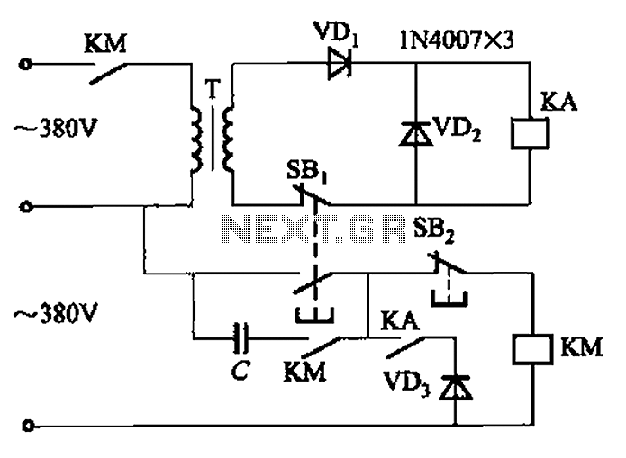Transformer AC contactor DC operation circuit b under