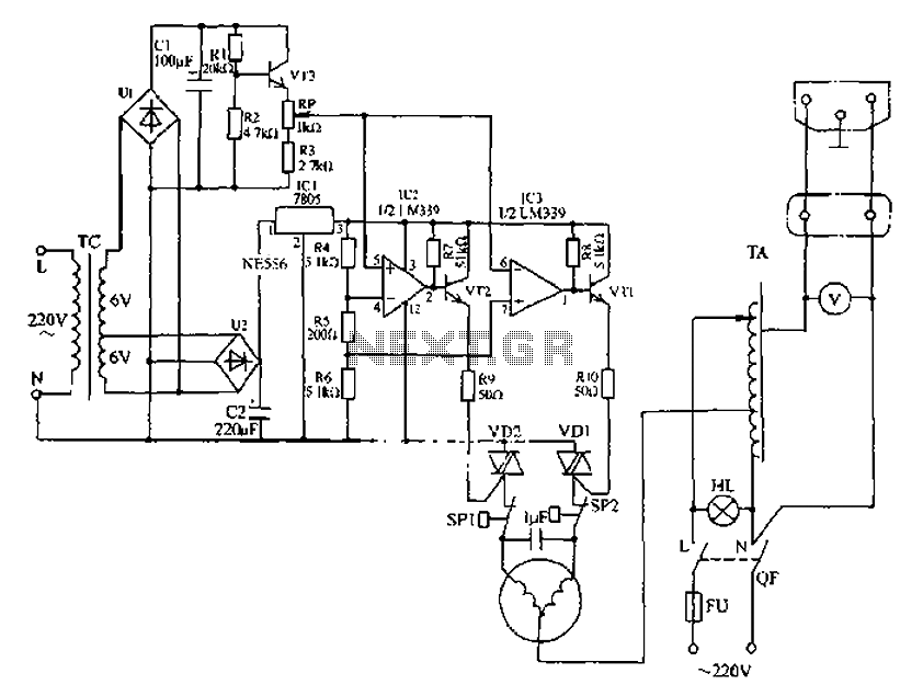 Automatic AC voltage regulator circuit under Power Supply