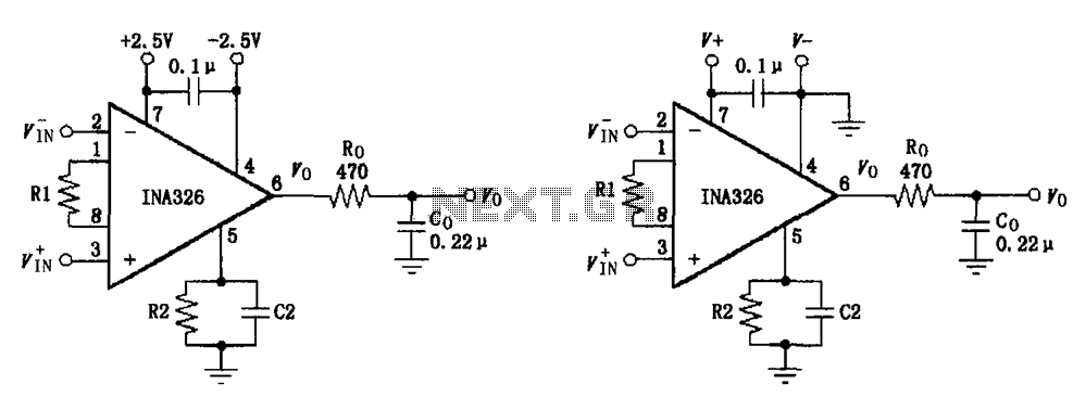 Basic Connection circuit diagram INA326 327 signals and