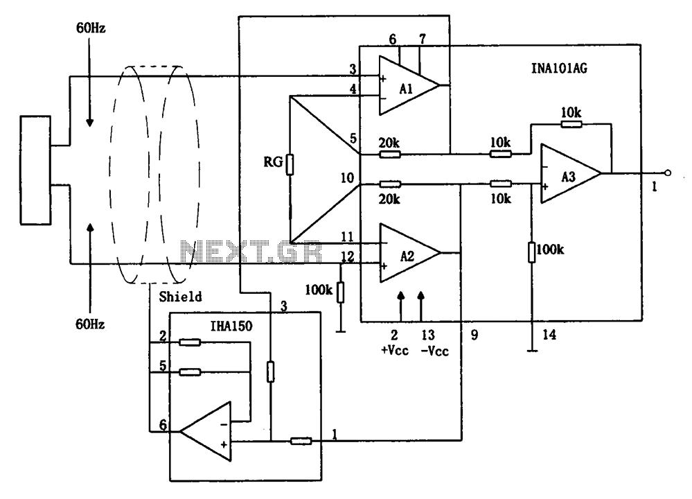 Eliminate hum instrumentation amplifier INA101 circuit
