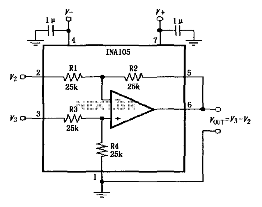 > other circuits > INA105 circuit diagram of the basic